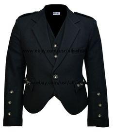 Scottish Plain Black Tweed Argyle Kilt Jacket With Waistcoat/Vest - Black Kilt, Black Waistcoat, Kilt Jackets, Punk Jackets, Irish Tartan, Tartan Kilt, Scottish Clothing, Scottish Kilts