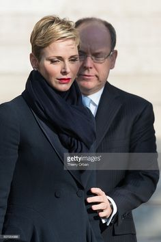 Princess Charlene of Monaco and Prince Albert II of Monaco attend the Ceremony of the Sainte-Devote, the patron saint of The Principality Of Monaco and Corsica island.of the Monaco cathedral on January 27, 2015 in Monaco,