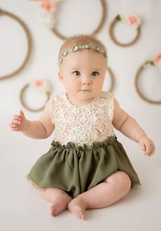3e293fec667 Dainty baby girl dress - lace top and olive green skirt. Perfect for a party