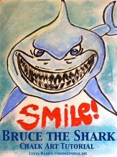 """Here's Brucieee!"" Bruce of Finding Nemo Chalk Art Tutorial"