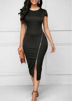 Cutout Round Neck Black Zipper Detail Sheath Dress - Trend Way Dress Tight Dresses, Sexy Dresses, Beautiful Dresses, Casual Dresses, Cheap Dresses, Sleeve Dresses, Trendy Dresses, African Fashion Dresses, African Dress