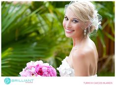 Gorgeous strapless with little veil, perfect for a Caribbean Wedding