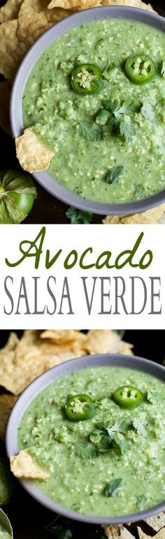 AVOCADO SALSA VERDE, an easy to make recipe with less than 10 ingredients! This salsa is perfect for an appetizer, snack or a sauce drizzle on top of some chicken or fish! | joyfulhealthyeats.com | gluten free recipes | paleo recipes