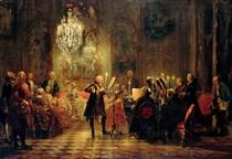 Flute Concert with Frederick the Great in Sanssouci - Adolph Menzel STYLE: REALISM