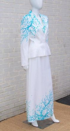 1980's Thierry Mugler White Linen Evening Suit With Aqua Coral Print