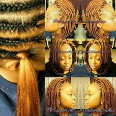 American and African Hair Braiding : Crochet braids. This is amazaing! African Braids Hairstyles, Girl Hairstyles, Braided Hairstyles, Crochet Braid Styles, Crochet Braids, Crochet Hair, Crochet Bob, Black Girl Braids, Girls Braids
