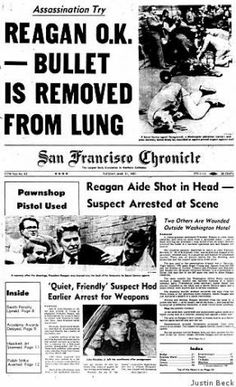 Today 3-30 in 1981 - U.S. President Ronald Reagan was shot in the chest by a would-be assassin as the President walked to his limousine at the Hilton Hotel in Washington DC. Press Secretary James Brady and two police officers were also wounded in the attack. John W. Hinkley, Jr. was convicted of the crime.