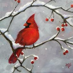 Pen And Watercolor, Watercolor Paintings, Bird Paintings, Canvas Paintings, Winter Painting, Winter Art, Bird Pictures, Pictures To Paint, Christmas Paintings On Canvas