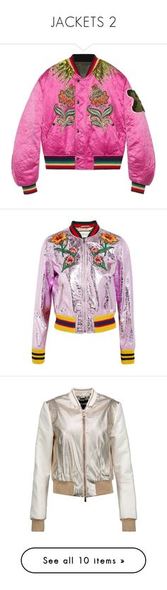 """JACKETS 2"" by loveoffashion2 ❤ liked on Polyvore featuring outerwear, jackets, gucci, pink, embroidered bomber jacket, quilted silk jacket, embellished bomber jacket, quilted jacket, bomber jackets and bomber jacket"