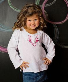 Look what I found on #zulily! White & Pink Sara Embroidered Top - Infant, Toddler & Girls #zulilyfinds