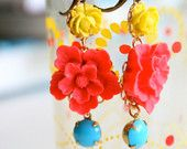 Etsy seller's shops- Look at these gorgeous earrings, just ordered a pair. The artist was inspired by Frida Kahlo Yellow Earrings, Diy Earrings, Flower Earrings, Weird Jewelry, Color Shapes, Colour, Turquoise, Bohemian Jewelry, Making Ideas