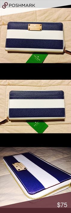 """Kate Spade Neda Wallet Kate Spade Neda Wallet.  Wellesley Printed navy/white strip design. Zip closure with slip pocket on backside. Interior offers a zip pocket, 3 gusset pockets, 2 bill slots, and 12 card slots.  7.75"""" x 4.25"""" x 1"""". NWT. NO TRADES kate spade Bags Wallets"""