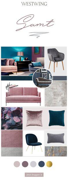 Interior- und Modewelt sind sich einig: Samt ist der Trendstoff der Saison! Das geschmeidig-weiche Material verzaubert uns jetzt vor allem in edlen Juwelentönen und zartem Rosa. Ob ein Samt-Sofa, Samt-Kissen ein niedlicher Samt-Pouf oder ein Samt-Sessel - das Trend-Material ist extrem wandelbar und verleiht jedem Zuhause einen Hauch von Glamour! Wir sind verliebt in Samt aller Art - Ihr auch? Living Room Colors, Living Room Decor, Home And Living, Home Crafts, Interior Inspiration, Home And Garden, Crafting, Glamour, Indoor