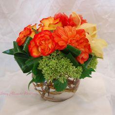 Sonny Alexander Flowers, Orange floral arrangement, flowers, flower low and lush design