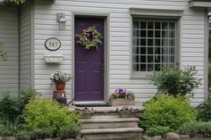 Front Door Paint Colors & Adding Curb Appeal {Reader Q & A} - Satori Design for Living Painted Exterior Doors, Painted Front Doors, House Paint Exterior, Exterior Paint Colors, Exterior House Colors, Paint Colours, Exterior Design, Purple Front Doors, Front Door Paint Colors