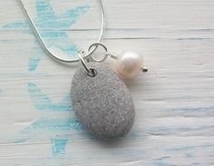 ........Pastel Pebble .......Scottish Beach Stone and Fresh Water Pearl Necklace