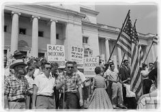 """Rally at state capitol, protesting the integration of Central High School. Protesters carry US flags and signs reading """"Race Mixing is Communism"""" and """"Stop the Race Mixing, March of the Anti-Christ"""". Little Rock, Arkansas [1500 × 995] : HistoryPorn"""