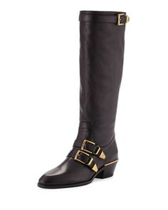 Leather+Buckle+Knee+Boot,+Black+by+Chloe+at+Neiman+Marcus.