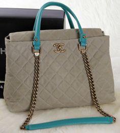 f6c278b0d413 CN0078 Chanel Classic Original Nubuck Cannage Pattern Two Handle Bag A1236  Khaki Chanel Handbags, Chanel