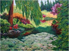 """'Water Lilies', oil on canvas, 36""""X48"""", private collection, Kimberley, BC www.CapriceArtStudio.com"""