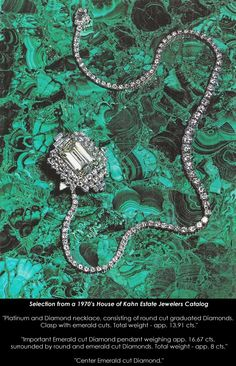 "1970's Catalog Selection | ""Platinum and Diamond necklace, Important Emerald cut Diamond pendant, Center Emerald cut Diamond"""