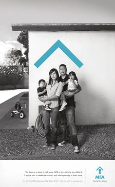 #MFA Housing New Mexico  Good use of color and branding through the use of a symbol or logo interacting with the picture.