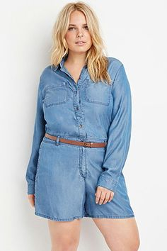 64838e7d32a Plus Size Belted Chambray Romper Plus Size Summer Outfit, Plus Size  Outfits, Plus Size
