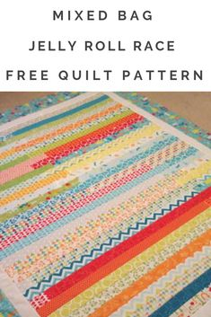 This free quilt tutorial uses one jelly roll in fun bright colors to create a beginner-friendly stri Jelly Roll Quilt Patterns, Baby Quilt Patterns, Block Patterns, Jelly Roll Race, Charm Pack Quilts, Quilt Tutorials, Sewing Tutorials, Sewing Projects, String Quilts