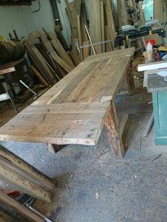Barn wood table 10 feet long 3 in top.