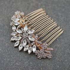 Rose Gold Crystal Bridal Hair Comb 1 - Earrings Nation Bridesmaid Jewelry Sets, Bridesmaid Gifts, Bridesmaids, Hair Jewelry, Bridal Jewelry, Braid Accessories, Bridal Sets, Bridal Looks, Personalized Jewelry