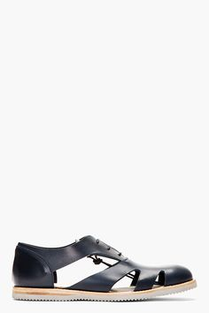 ALEXANDER MCQUEEN Navy Leather Cut Out Lace Up Shoes
