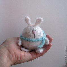 Купить Зай Пухляныч - белый, игрушка ручной работы, игрушка заяц, вязаная игрушка
