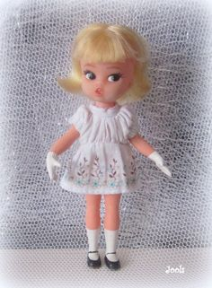 "Hasbro Dolly Darling ""Teatime"" doll. She has a twist and turn waist. Her back is marked 1965. (The dress isn't her original one, just one that I've found for her)."