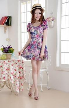 Graceful Womens Rural Style Chiffon Floral Boho Short Sleeve Dress | eBay for $18.99