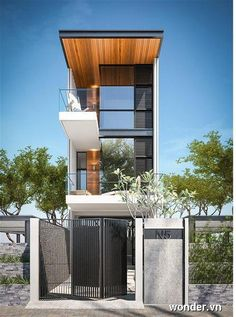 Kirk says: I love the natural wood on the underside of the roof Residential Architecture, Contemporary Architecture, Architecture Design, Contemporary Design, Building Design, Building A House, Townhouse Designs, Casas Containers, Narrow House