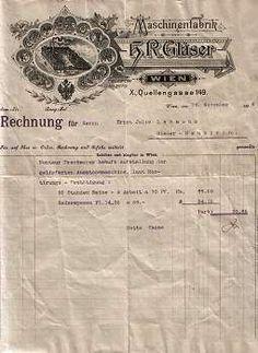 Wien - H.R. Gläser. Maschinenfabrik. Rechnung von 1896