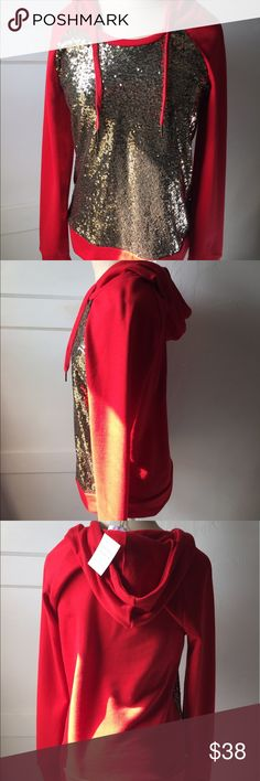 Red and Gold Sequins Hoodie New with tag red and gold sequins hoodie from Modern Vintage Boutique Modern Vintage Boutique Tops Sweatshirts & Hoodies