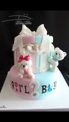 Whether you are going to order or bake your baby shower cake, you will need some inspiration! We have collected 25 baby shower cake ideas just for you! Baby Cakes, Baby Reveal Cakes, Baby Gender Reveal Party, Cupcake Cakes, Gender Reveal Cakes, Gender Party, Gender Cake, Girl Shower Cake, Gateau Baby Shower