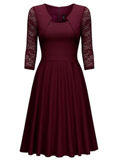 46c72df2db4 Women s Evening Dress Elegant Cocktail Dress Vintage Dresses … Miusol   Women s Evening Dress Elegant Cocktail Dress Vintage Dresses Arm with Lace  Knee- ...