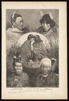 Shows four individual head and shoulders portraits of Maori, around a central circular inset image of two young Maori women greeting each other wit. Polynesian People, Polynesian Art, Polynesian Tattoos, Ta Moko Tattoo, Maori Tattoos, Flax Weaving, Maori People, West Papua, Creative Pumpkins