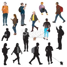 urban crowds silhouettes Royalty Free Stock Vector Art Illustration