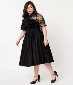 c1de4caf6da Unique Vintage Plus Size 1940s Black Cotton Luna Swing Dress   Velvet  Spiderweb Mesh Capelet Trendy