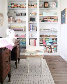 The Saturday Seven Inspiration for Quilters 127 is a smorgasbord of fun things for quilters: find patterns, notions, recipes, good reads and more! Sewing Room Design, Sewing Room Storage, Quilt Storage, Sewing Room Organization, Ikea Storage, Sewing Studio, Small Sewing Space, Sewing Spaces, Small Rooms