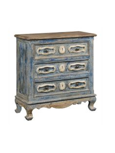 This three drawer chest fits perfectly as a bedside chest or entryway piece. The Smith chest features a hand-painted blue and white finish.  Fixture Dimensions: 35*15*36