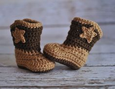Baby Cowboy Boots Crochet Baby Booties Boy by AdorablyHooked
