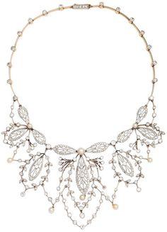 Antique diamond, pearl, platinum and gold necklace. France, 1920's. Via Diamonds...