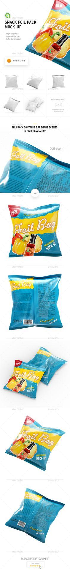 Snack Foil Pack Mock-up #design Download: http://graphicriver.net/item/snack-foil-pack-mockup/13000499?ref=ksioks