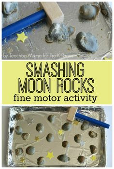 Moon Rocks Fine Motor Activity - Pre-K Pages - Mary Catherine @ Fun-A-Day! - Moon Rocks Fine Motor Activity - Pre-K Pages Moon Rocks Fine Motor Activity - fun activity with smashing! Don't know a child who wouldn't love it! Space Theme Preschool, Space Activities For Kids, Space Crafts For Kids, Moon Activities, Sensory Activities, Sensory Rooms, Preschool Education, Science Education, Space Theme For Toddlers
