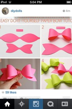 diy paper bow diy crafts craft ideas diy ideas diy crafts crafty easy diy easy craft diy bow craft bow by mavrica Easy Diy Crafts, Cute Crafts, Crafts To Do, Diy Paper, Paper Crafting, Paper Bows, Paper Ribbon, Paper Art, Ribbon Diy