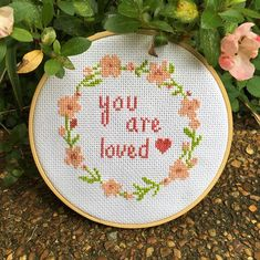 Remember today that you are loved! #leiapatterns #youareloved #lovecrossstitch #crossstitchpattern #crossstitch